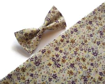 violet yellow brown,floral bow tie,blossoms,slim nekties,wedding grounsmen,outfit self tie,floral suspenders,ring bearer groom,haveeseen