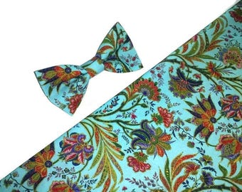 bright blue floral bow tie slim tie for men mexican wedding outfit for groom and groomsmen ideas ring bearer boy selftied bowtie adult BH2/1