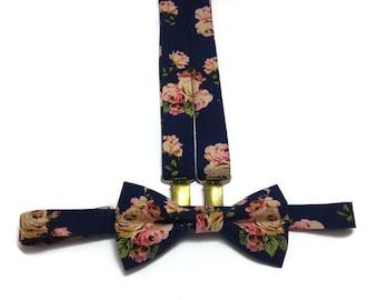NAVY blue floral bow tie and matching suspenders roses pattern,shabbychic wedding ideas,groomsmen bow ties,groom skinny tie,ringbearer stuff