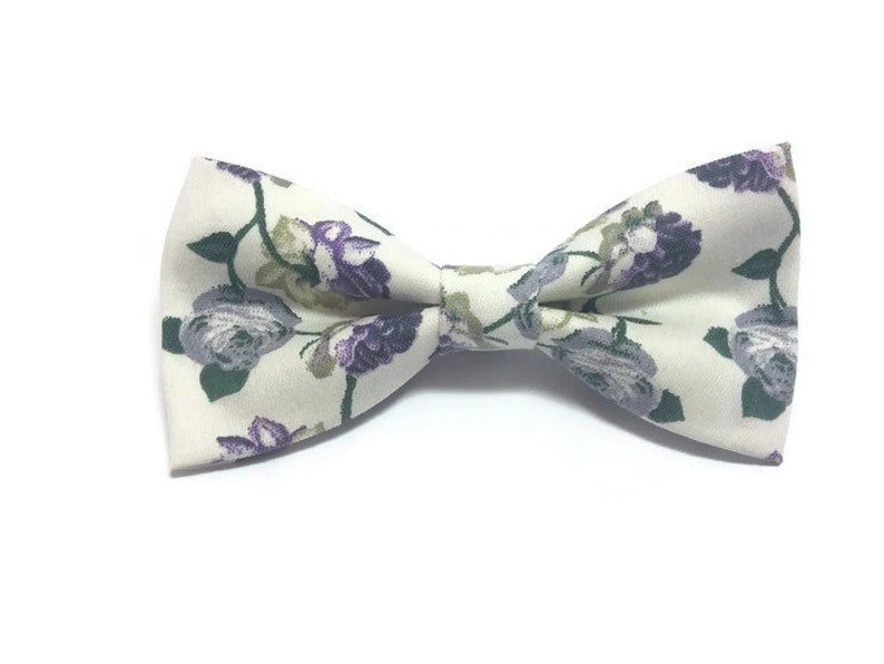 Ivory cotton bow tie in grey purple roses pattern stylish mens/' accessories wedding day ideas for men boys for toddler for boyfriend A482b5