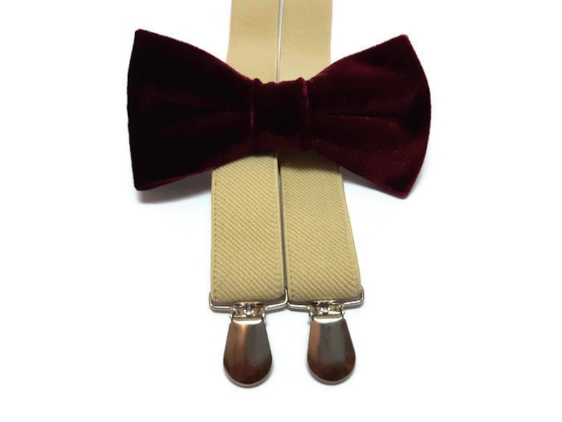 burgundy velvet bow tie beige suspenders men groomsmen bowties image 0