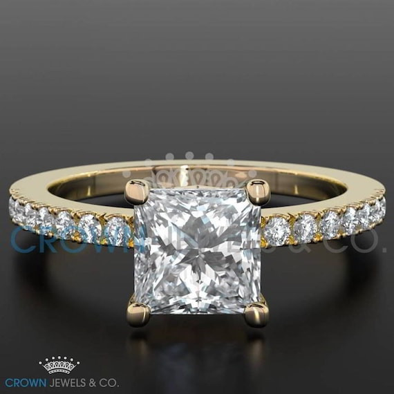 Diamond Solitaire Accented Diamond Ring Vs1 D 1.45 Carat Women Appraised 18k White Gold Fine Jewelry