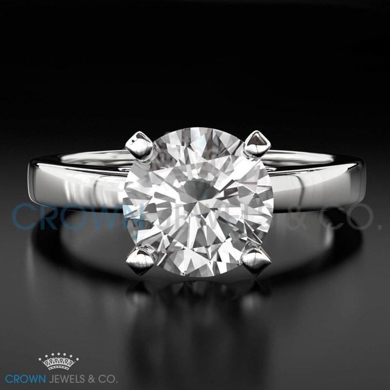 Engagement Ring Round Brilliant Cut Diamond 2.50 Carat H VS Solitaire Ring 18K Yellow Gold For Women