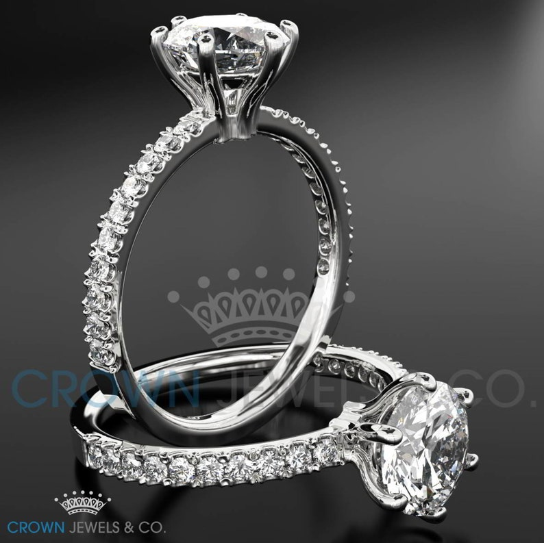 Engagement Ring 1.05 Carat Accented Diamond 18K Yellow Gold Setting H VVS2 Round Brilliant Cut Women Bridal Ring For Her