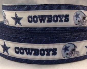 """Dallas Cowboys Ribbon - Football Ribbon - 7/8"""" Grosgrain Ribbon by the yard, for hair bows,crafting & more!  Football Ribbon - Cowboys"""