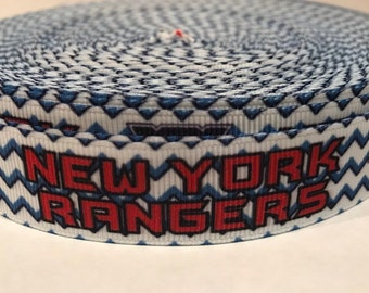 "7//8/"" NEW YORK RANGERS NHL HOCKEY TEAM GROSGRAIN RIBBON BY THE YARD USA SELLER"
