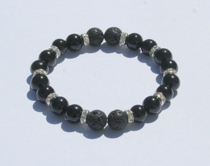 Aromatherapy Bracelet / Diffuser Bracelet ~ 8mm Black Onyx with Swarovski Rondelles