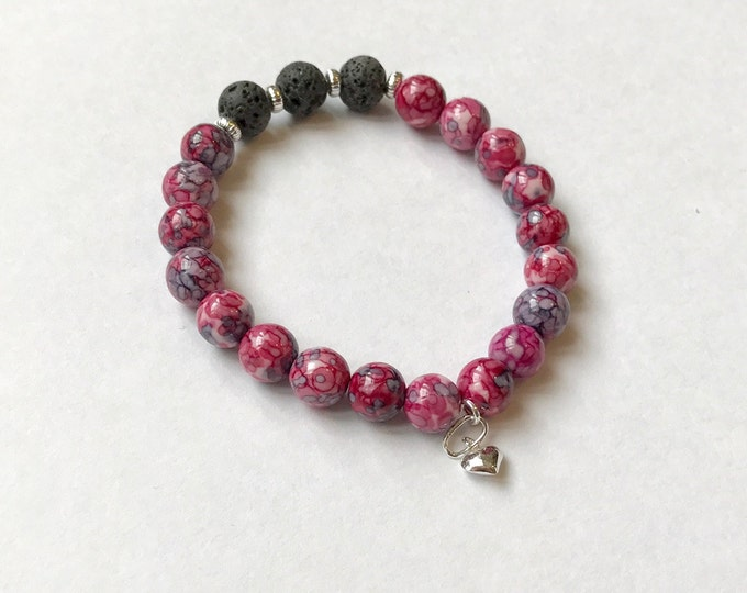 Aromatherapy Bracelet / Diffuser Bracelet ~ RainFlower Ocean Jade in purple/pink with heart charm
