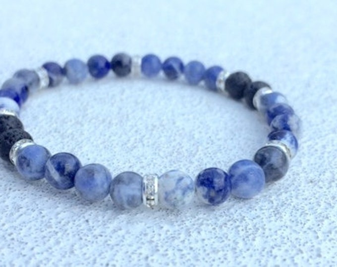 Aromatherapy Bracelet / Diffuser Bracelet ~ Sodalite Gemstones with Swarovski Rondelles and Lava Stones