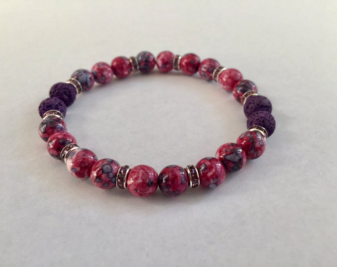 Aromatherapy Bracelet / Diffuser Bracelet ~ RainFlower Ocean Jade in purple/pink