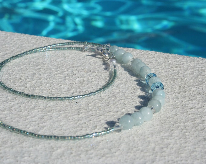 Aquamarine Gemstone Necklace with Swarovski Crystals