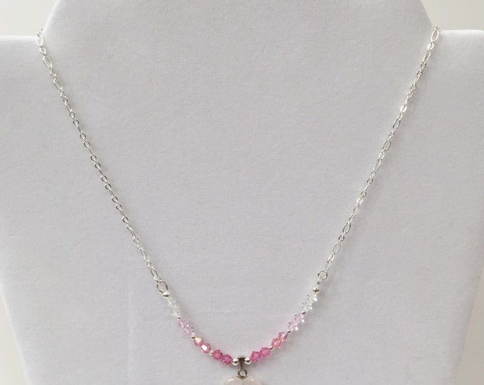 Rose Quartz Heart Pendant with Swarovski Crystal bicones on silver chain Valentine Jewelry