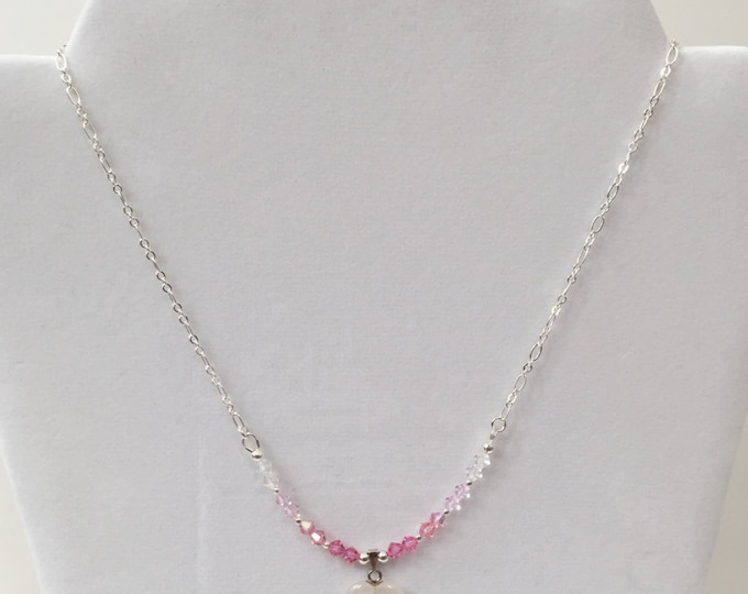 Rose Quartz Heart Pendant with Swarovski Crystal bicones on silver chain Valentine Jewelry