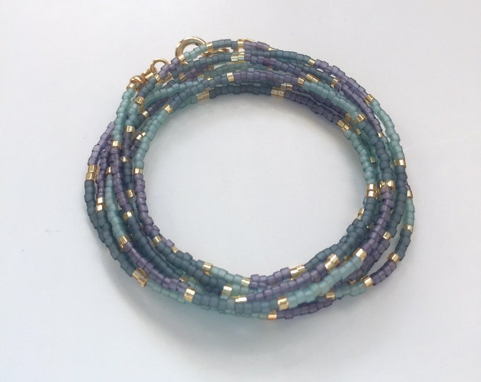 Delica beads layered bracelet / anklet  in purple, sage green and gold