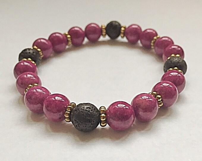 Aromatherapy Bracelet / Diffuser Bracelet ~ 8mm Purple Riverstone