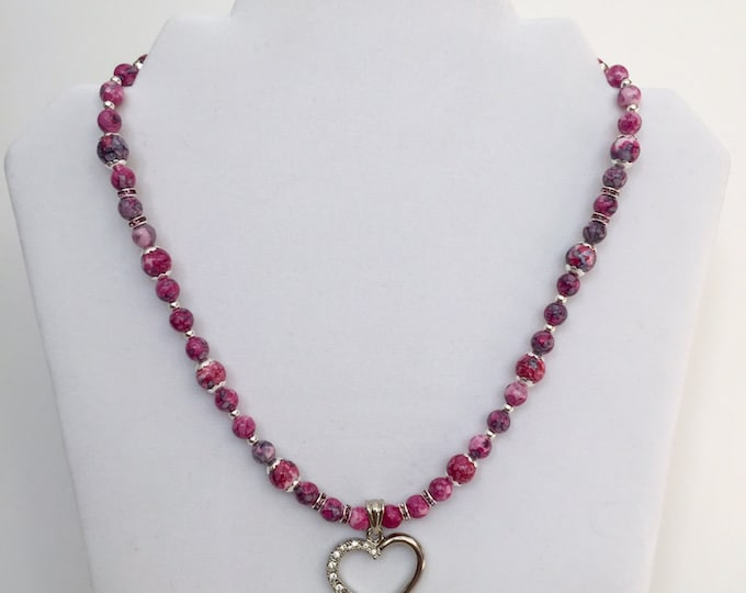 Purple/Pink RainFlower Jade with Crystal Heart Pendant Valentine Jewelry