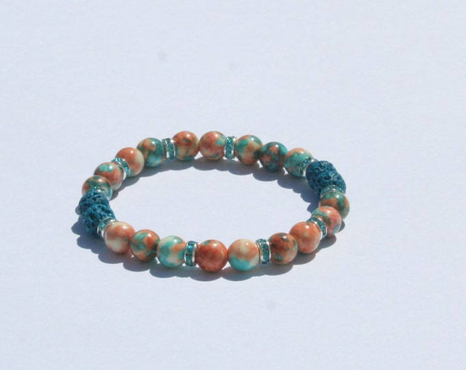 Aromatherapy Bracelet / Diffuser Bracelet ~ 6mm RainFlower Jade in Blue/Peach with Swarovski Rondelles (Blue Lava Stones)