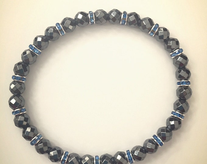 Hematite Bracelet with Swarovski Rondelles