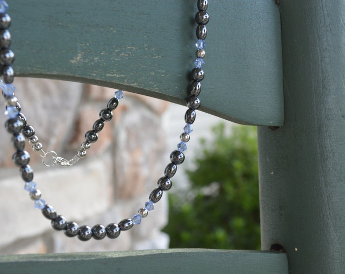 Hematite Gemstone Necklace with Swarovski Crystals ~ 18""