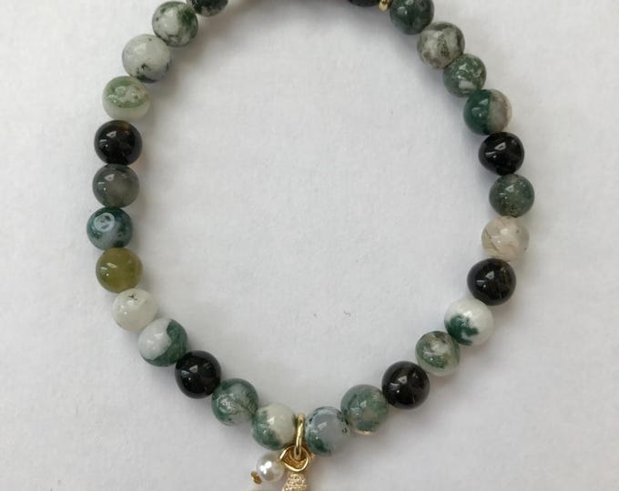 Aromatherapy Bracelet ~ Diffuser Bracelet Moss Agate, Black Agate and Tree Agate Gemstones with starfish charm