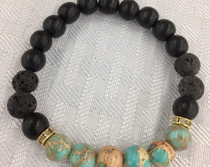 Diffuser Bracelet ~ Aromatherapy Bracelet ~ Magnesite and Lava Stone