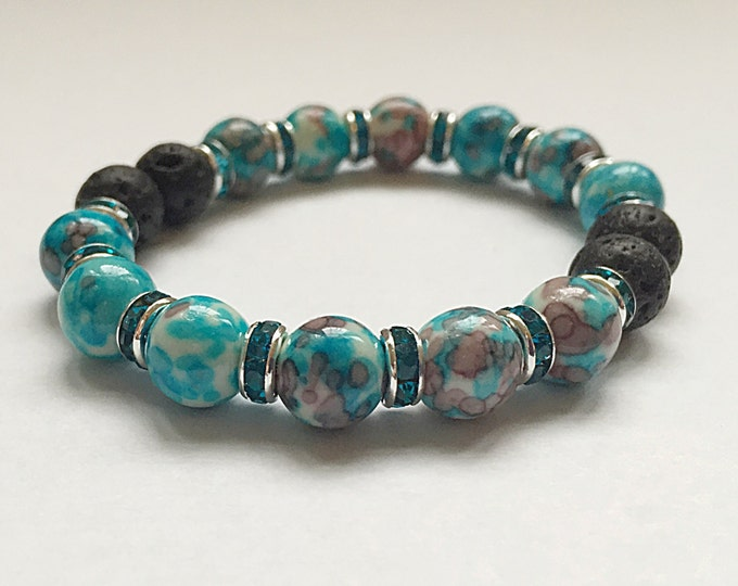 Aromatherapy Bracelet / Diffuser Bracelet ~ RainFlower Ocean Jade in purple/blue with Swarovski rondelles and lava stones