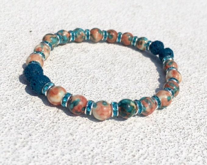 Aromatherapy Bracelet / Diffuser Bracelet ~ Rain Flower Jade ~ Peach & Blue with Swarovski Rondelles