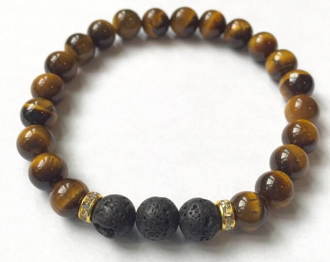 Aromatherapy Bracelet / Diffuser Bracelet ~ 8mm Tiger Eye with Swarovski rondelles