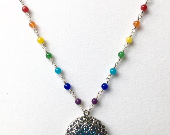 Chakra Diffuser necklace / Aromatherapy Necklace with Jade gemstones