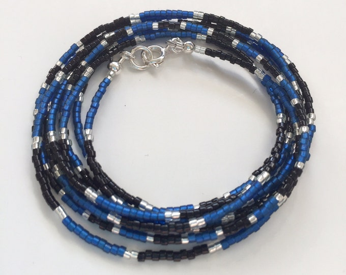 Delica bead layered bracelet in navy, black and silver