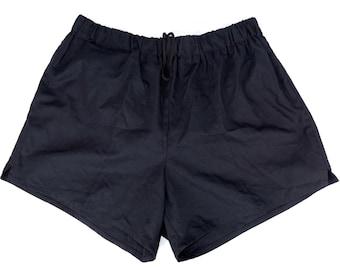 Army Running Shorts navy blue yellow stripes hot pants retro sports vintage VGC
