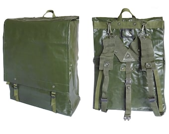 64c4b2ceaae1 1980s Waterproof Ex-Army Backpack large bag rucksack green rubberized  harness carrying handle NOS boat bag vinyl fishing hiking canoeing