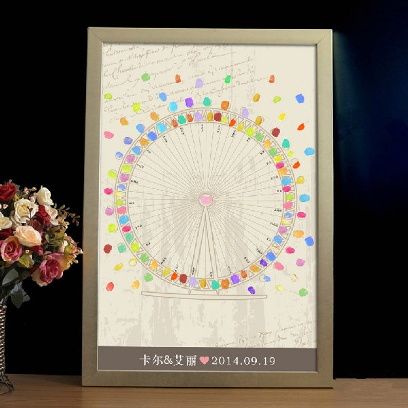 Ferris wheel Wedding Guest Book wedding tree Fingerprint Guest Book Fingerprint tree Thumbprint Poster Wedding Poster hand sketched tree