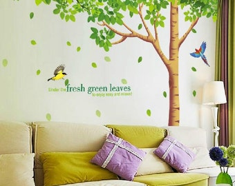 Beautiful Super Big Fresh Green Leavesu0026tree Wall Decals Two Birds Vinyl Wall Decals  Wall Stickers Removable Decorative