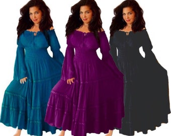 15c2be7410 Boho Peasant Mexican Dress - Long Sleeve Elastic Smocked - LotusTraders  R5241 Made To Order