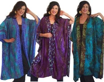 a888ce6fd18 Bohemian Clothing Jacket - Plus Size Boho Kimono Rayon Batik - I380 Made to  Order Now Size up to 7X