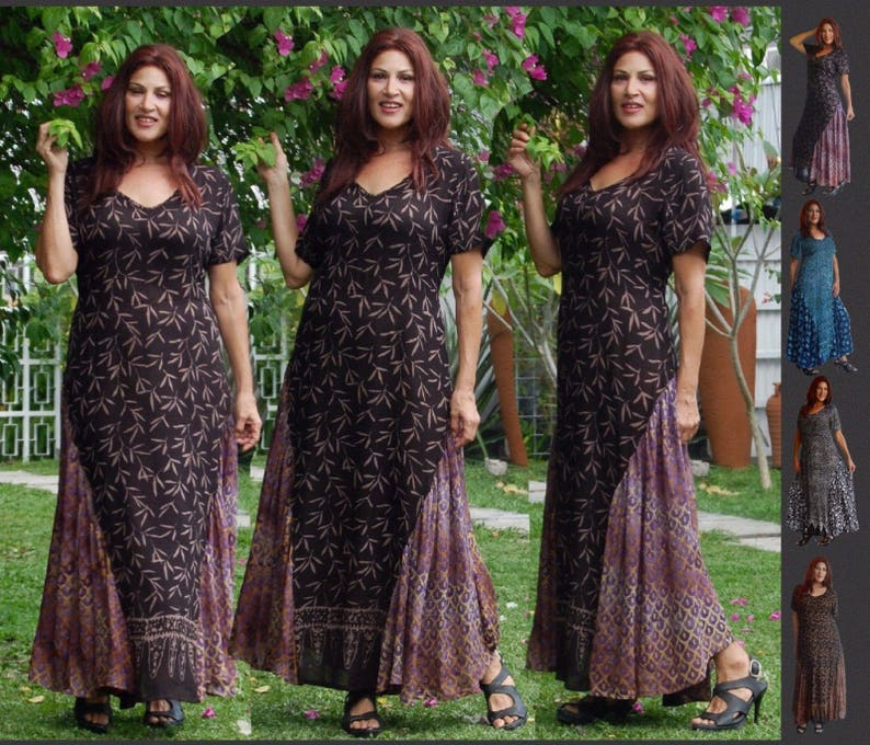 5533a91df91b Gypsy Maxi Long Dress made in Gauzy Rayon Batik Rayon Dress | Etsy