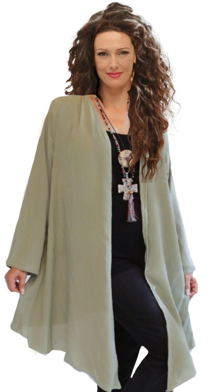 LotusTraders M994 Made To Order Boho Swing Jacket Long Sleeve A line Elegant Rayon Crinkle