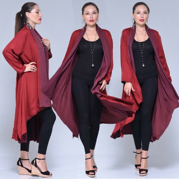 red jacket long layered sleeves lagenlook  m l xl 1x 2x