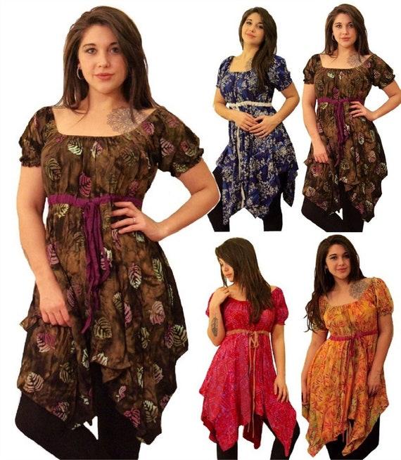 u pick color boho peasant S M L XL 1X 2X 3X 4X 5X  smocked dress trim flattering