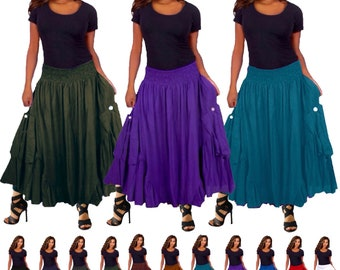 Bohemian Ruffled Skirt Dress - with Feature Pockets Elastic Smocked Waist - LotusTraders G1920 Made To Order
