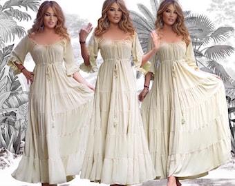 Bohemian Cottagecore Dress  Women Clothing Maxi Renaissance 3/4 Sleeve Tiered Skirt A Line Classic Elegant Crinkle B1720 LotusTraders