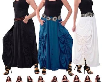 Ruching Boho Skirt - Drawstrings Pockets Elastic Waist Scalloped - LotusTraders P9670 Made to Order