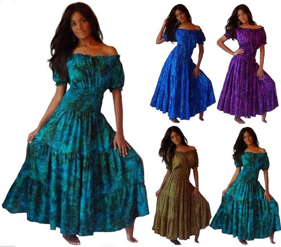 Boho Lagenlook Mexican Peasant Maxi Dress Short Sleeve Batik Print Plus Size Made to Order U736 LotusTraders