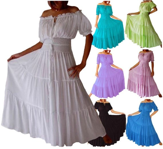 Short Sleeve Mexican Peasant Dress - Maxi Smocked Waist Tiered Skirt -  LotusTraders Made To Order A7630 - Stunning
