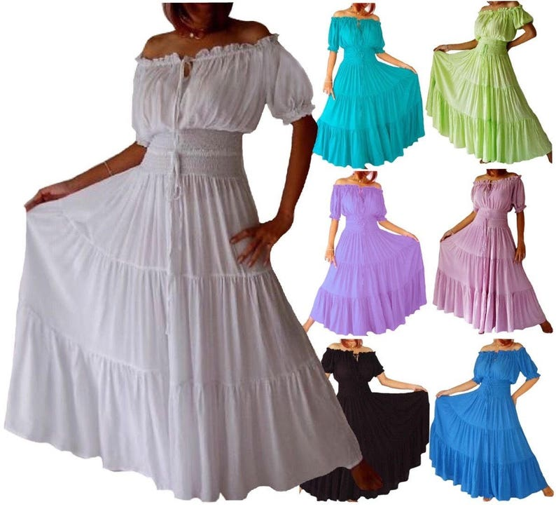 Short Sleeve Mexican Peasant Dress Maxi Smocked Waist Tiered   Etsy