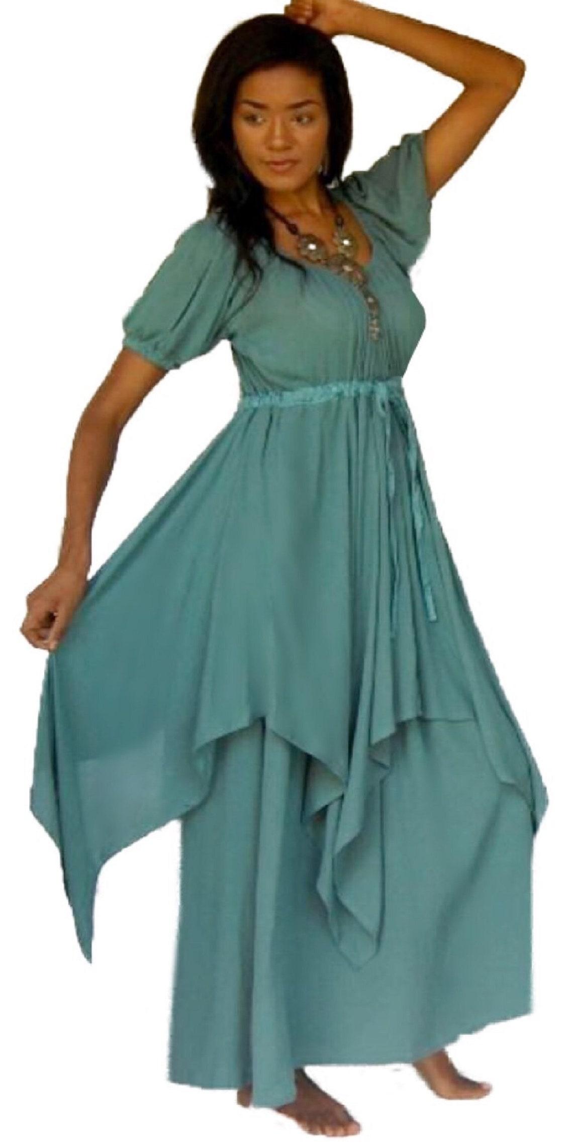 Bohemian Peasant Dress  Wedding Bridesmaid Layered Skirt