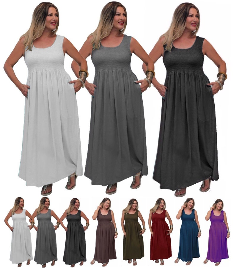 79b89b42f1 Boho Maxi Basic Dress Elastic Smocked Empire Baby Doll