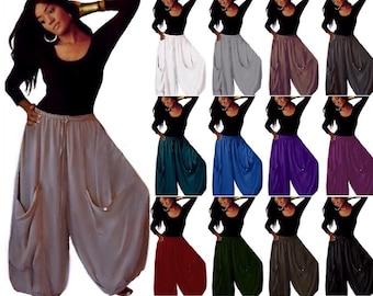 Boho Pant Wide Leg Gauchos - Elastic Waist Drawstring With Big Pockets - LotusTraders Made To Order T218