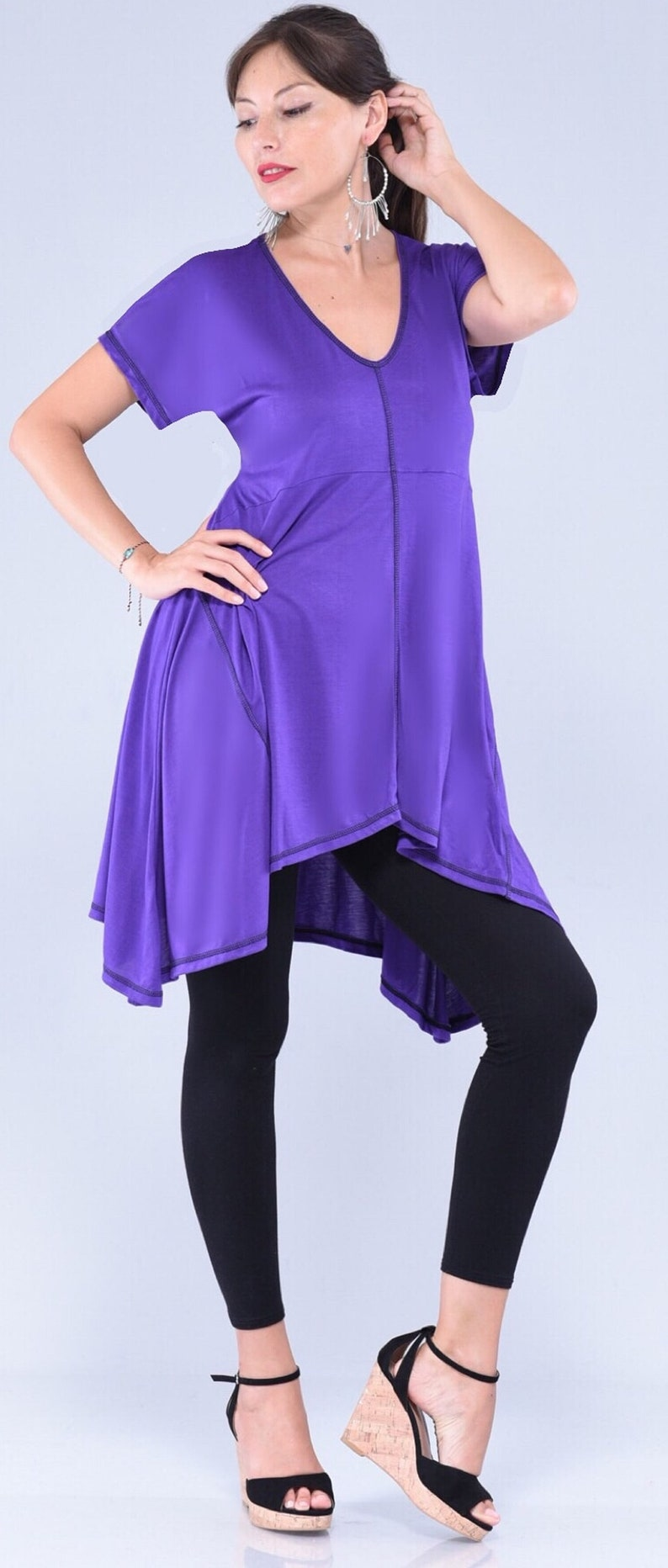 A Line Short Sleeve Stretch Rayon Jersey Hippie Blouse Empire Top Made To Order Z897 LotusTraders